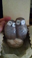 "Vintage Porcelain Royal Copenhagen Owl Couple 3"" High #834 Denmark W/ Box"