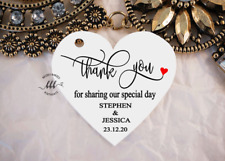 10 White Gift Tags Wedding Favour Bomboniere Personalised Thank you for sharing