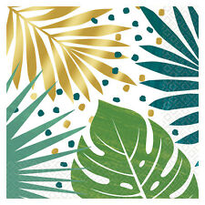 16 Hawaiian Key West Green & Gold Palm Leaf Napkin Tropical Luau Party Tableware