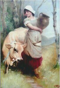 9x6 Edwin Douglas Art Print Young Peasant Girl Milkmaid JERSEY COW Milk Jar