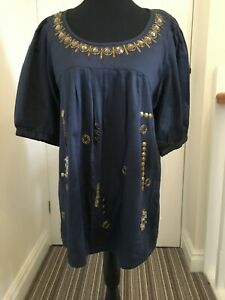 'NEXT' NAVY SHORT SLEEVED EMBELLISHED LINED TUNIC TOP SIZE 14/16