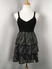 BEBE Womens Black White Polka Dot Ruffle Evening Dress Lace Bandage Top Sz XS