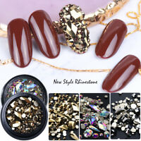 Mixed 3D Nail Art Rhinestones Crystal Gems Jewelry Gold AB Shiny Stones Decor