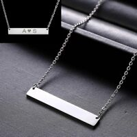 Family Personalized Stainless Steel Engrave Bar Custom Peadant Necklace Jewelry
