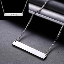 Personalized Name Bar Pendant Necklace Custom Engraved Stainless Steel Necklace