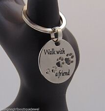 """""""Walk With a Friend"""" Keychain Stainless Steel Dog Paw Footprints Key Chain Ring"""