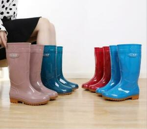 4 Colors Galoshes Womens Rubber Rain Boots Pull On Garden Workwear Casual Shoes