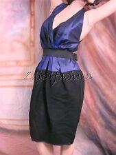 $2295 New DONNA KARAN COLLECTION Midnight Blue Taffeta Black Wool Belted Dress 4