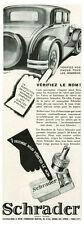 Publicité Ancienne  Voiture Valve Schrader le Nom 1930 issue de magazine