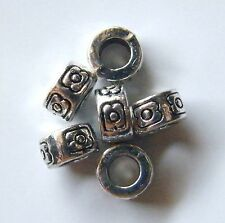 100pcs 7x4mm Metal Alloy Rondelle Spacer Beads - Antique Silver