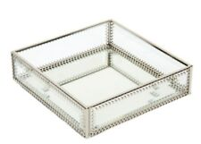 Square Mirrored Glass Serving Tray Large Ottoman Tray Elegant Chic Decor !