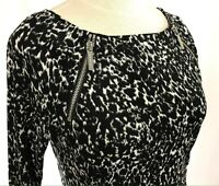 MICHAEL KORS Dress Black/white Size Small Stretch Fitted Zipper Detail