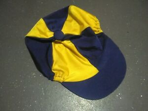 HORSE RIDING HAT COVER SPARTAN BLUE/YELLOW USED/GOOD CONDITION LARGE SIZE