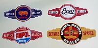 4 X GAS STATION PROMO VINYL STICKER DECAL OIL ESSO HOLDEN GOLDEN FLEECE AMPOL