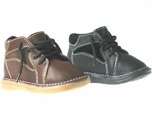 New Baby Boys Leather Lace Up Casual Boots Black And Brown Infant/Toddler Sz 2-6