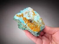 Wulfenite on Chrysocolla, Adelila Mine, Inca de Oro, Chile