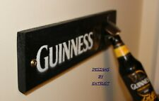 GUINNESS Sign Wall Mounted Bottle Opener Man Cave Bar Rustic - Wooden
