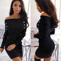 Women Winter Slim Bodycon Turtleneck Knitted Sweater Dress Jumper Knitwear