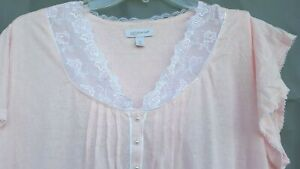 Croft And Barrow Women's Nightgown Size 2x Pink Short Sleeve Mid Calf
