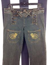 Women's Sailor Jerry Denim Jeans Pants Panther Tatoos Double Button Fly Sz L 34