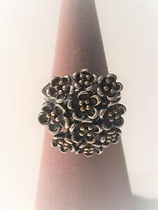 Original Pandora Bicolor Ring Blüten mit schwarzem Spinell - 190857SPB Neu