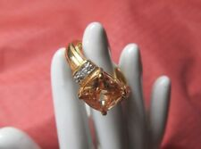 NEW!! FASHION GOLD FILLED FACETED CUSHION CUT CHAMPAGNE CZ WHITE DIA SIZE 7 RING
