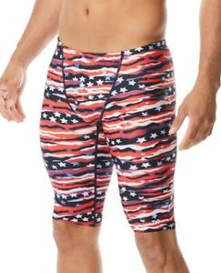 TYR Men's All American Allover Jammer - Swimming Jammers - Red/Wht/Blue