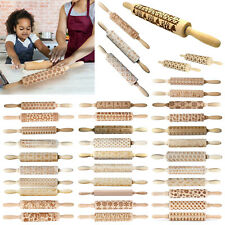Wooden Christmas Rolling Pin Embossing Engraved Dough Roller Baking Cookies Tool