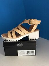 Mia Nadie Nude Faux Leather Chunky HeelSandals Size 7.5M *NEW