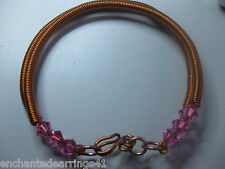 """Coiled Copper on Copper 8"""" Double Bracelet with Swarovski Rosaline Pink Bicones"""