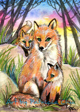 """ACEO LE Art Card Print 2.5x3.5"""" Mama Fox Baby Foxes At Sunset Woods by Patricia"""