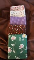 RJR Everything But Kitchen Sink Retro 1930's Fabric 5 Fat Quarters Green Red