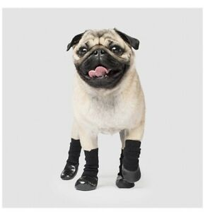 Genuine Canada Pooch Non Slip Rubberised  Socks Size Small Black 4 Per Pack
