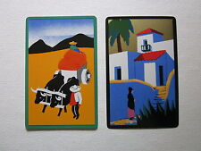 TWO SWAP CARDS - VINTAGE - MEXICAN THEMES - OX CART - ART  Unused Condition