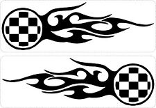 Set 2x sticker decal vinyl car bike laptop macbook bumper checkered flag flame