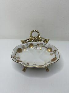 Vintage Victorian style Pedestal Soap Dish Gold trimmed Gold Leaf Unmarked Flaws