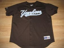Majestic Coffee Brown NY Yankees Button Up Baseball Jersey/Be Like Mickey Mantle