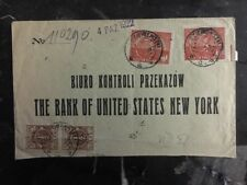 1922 Warsaw Poland Post WWI Registered Cover To The Bank Of US In New York