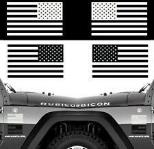 Set of 2 American Flags for LEFT RIGHT Side Vinyl Sticker Decal  WHITE or BLACK