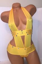 Exotic dancewear-Sexy Yellow One piece with tie strap