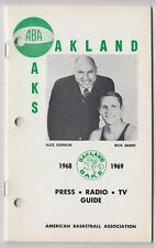 1968/69 OAKLAND OAKS ABA PRESS MEDIA GUIDE RICK BARRY & ALEX HANNUM COVER