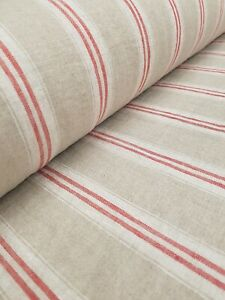 Oslo Stripe Vintage French Washed Linen Fabric Red Lightweight Curtains Dress