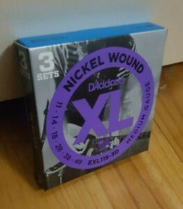 D'Addario EXL115-3D (3 Sets) Nickel Wound Electric Guitar Strings. Gauge: 11-49