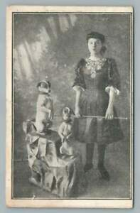 Woman w Trained Terrier Dogs~Antique Carnival Sideshow PC Jack Russell? 1900s