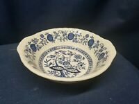 Vintage Enoch Wedgwood Blue Heritage Round Serving Bowl Blue Onion DesignEngland