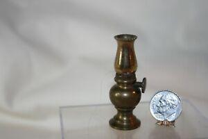 Miniature Dollhouse Vintage Heavy Brass Hurricane Lamp Shade Comes Off 1:12 NR