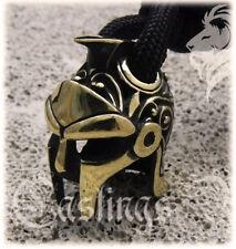 * GLADIATOR HELMET * Bronze Paracord Knife Leather Lanyard Bead / Beads