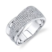 Womens Wide Right Hand Statement Sz 7 14K White Gold Diamond Pave Cocktail Ring