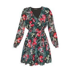 Guess Eulalia L/S Floral Print Day Dress, Black/Green