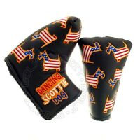 New US Flag Dancing Scottie Dog Head Cover for Blade & Midsize Mallet Putter